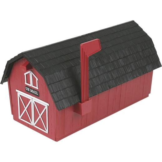 Flambeau Rustic Barn Design Plastic Post Mount Mailbox