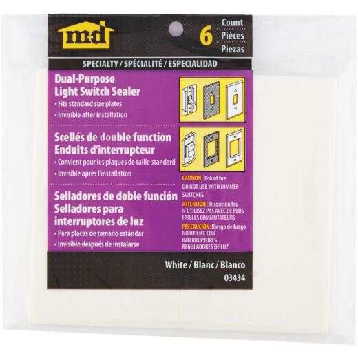 M-D Dual Purpose Switch & Wall Plate Insulator, 6-Pack