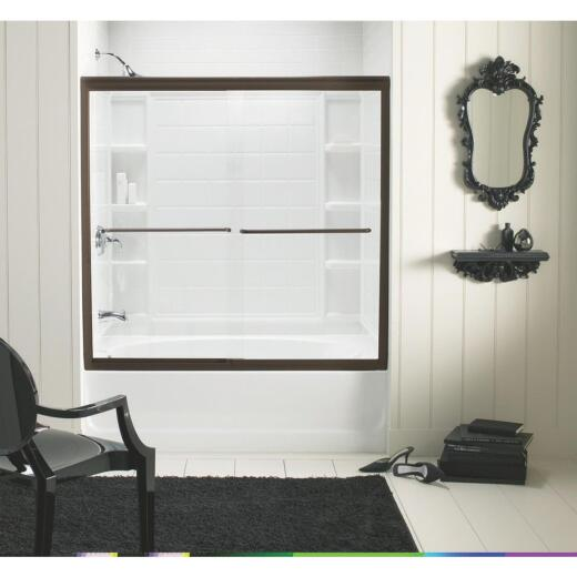 Sterling Finesse 59-5/8 In. W. X 55-3/4 In. H. Bronze Semi-Frameless Clear Glass Sliding Tub Door