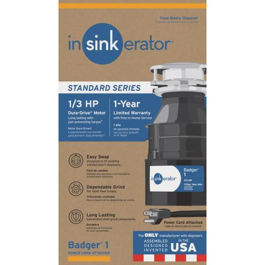 Insinkerator 1/3 HP Badger 1 Garbage Disposal with Power Cord, 1 Year Warranty