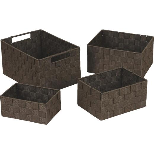 Home Impressions 4-Piece Woven Storage Basket Set, Brown