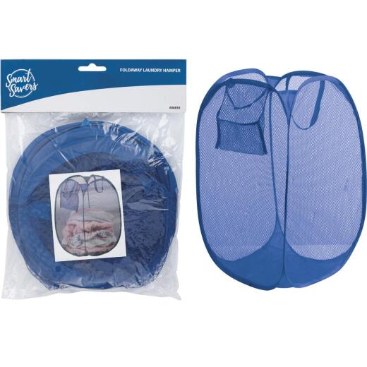 Smart Savers Blue 14 In. W. x 14 In. L. 23 In. D. Foldaway Clothes Hamper Tote