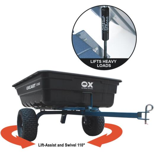 OxCart 12 Cu. Ft. 1100 Lb. Lift-Assist & Swivel Tow-Behind Garden Cart