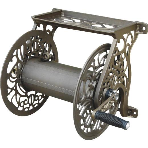 Liberty Garden 125 Ft. x 5/8 In. Bronze Aluminum Decorative Wall Mount Hose Reel