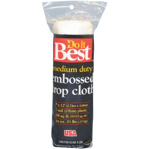 Do it Best Embossed Plastic 9 Ft. x 12 Ft. 1 mil Drop Cloth