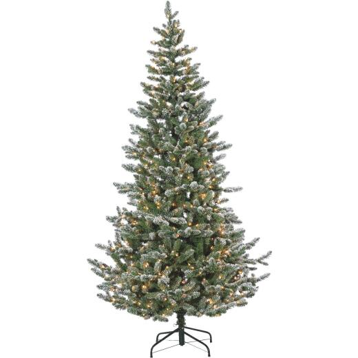 Sterling 7.5 Ft. Lightly Flocked King Pine 550-Bulb Clear Incandescent Prelit Artificial Christmas Tree