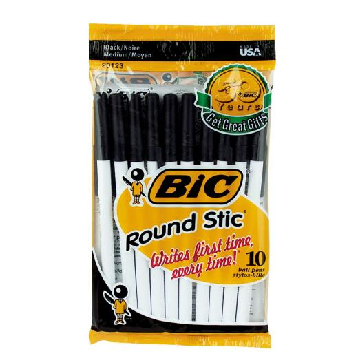 Bic Round Stic Medium Point Black Ball Pen (10-Pack)